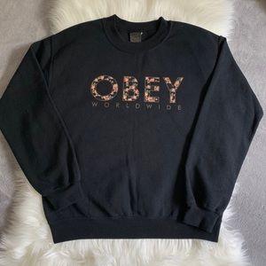 Obey Floral Logo Black Small Crewneck Sweatshirt